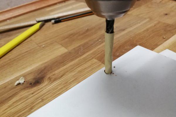 Malertapen på boret angiver hullets dybde